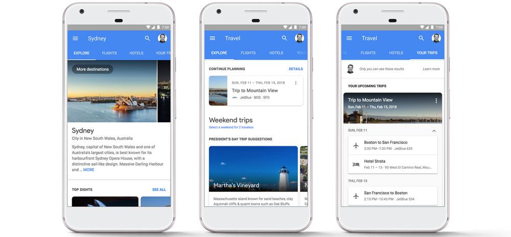 travel planning google