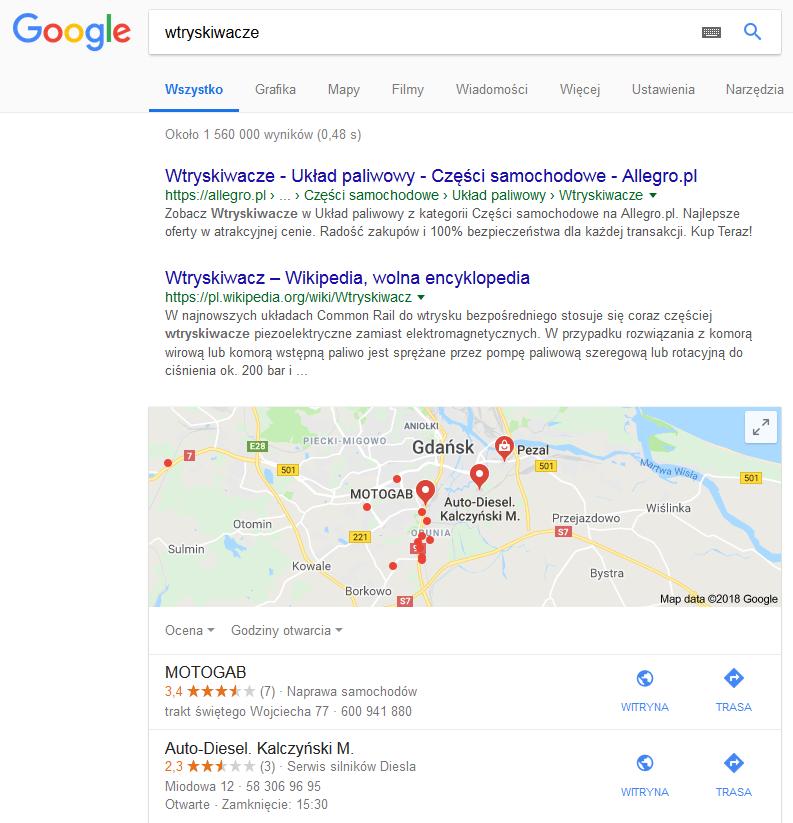 Lokalne wyniki Google