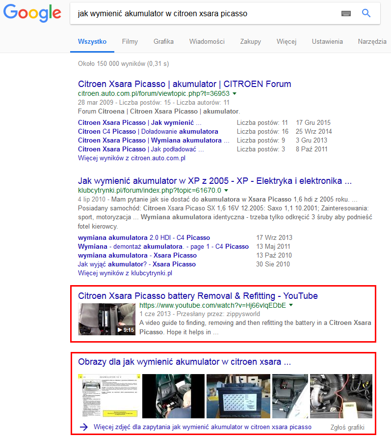 Filmy YouTube i obrazki w SERP Google