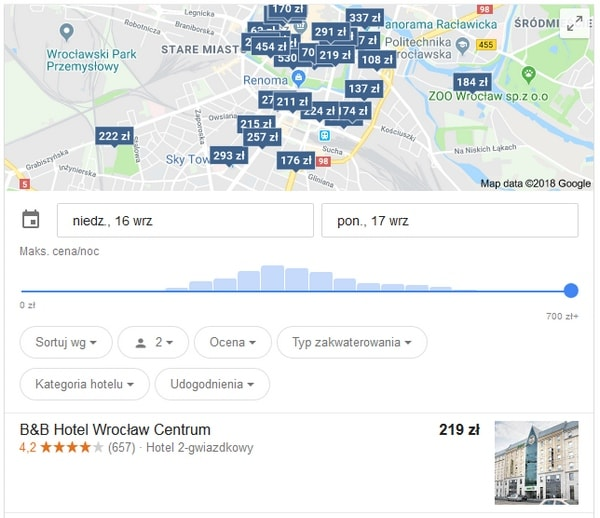 Hotele w rezultatach Google